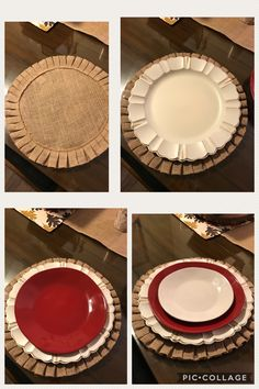 Holiday, Valentine's day, or any day! Burlap placemat, white charger, red and white dishes. Setting pieces from Pier One Imports,& dishes are Marin collection from Crate and Barrel.
