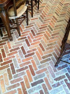 herringbone brick kitchen floors- love it! Brick Floor Kitchen, Kitchen Flooring, Brick Flooring, Floors, Home Upgrades, Kitchen Remodel, Kitchen Redo, Cool Kitchens, Home Remodeling