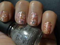 Champagne Nails Pink Bling Nail Art Flower Flowers Stickers Glitter