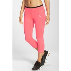 adidas 'Techfit' Three Quarter Tights ($55) ❤ liked on Polyvore featuring activewear, activewear pants, adidas activewear, adidas and adidas sportswear