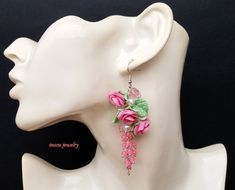 Light Pink Earrings, Wedding Flower Earrings, Spring Jewelry, Rose Earrings, Spring Flowers