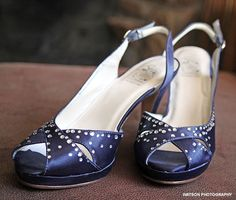 Blue slingbacks with crystal details