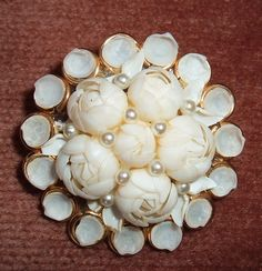 1950s Shell Flower Brooch from Florida