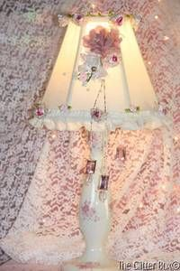 pink shabby chic crystal things   Shabby-Cottage-Chic-Table-Lamp-Lamp-Shade-Embellished-Pink-Roses ...