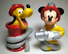 Mickey Mouse and Pluto firemen salt and pepper shaker set from our Salt and Pepper Shakers sets collection | Disney collectibles and memorabilia | Fantasies Come True