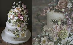 wedding cakes with sugar flowers by Amy Swann UK