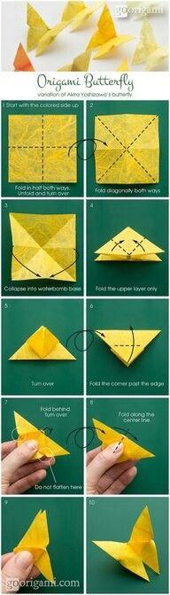 Origami Schmetterlingen- fuer Fruehling