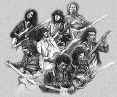 Amalgam of the greats Stevie Ray Vaughan, Jimmy Page, Eric Clapton, Angus Young, Brian May, Jimi Hendrix, Heavy Metal, Tony Iommi, Guitar Posters