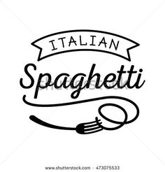 pasta logo design with spoon and fork in black color minimal look