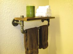 "Inspire: Industrial Plumbing Pipe Towel Rack and Shelf - made out of 1/2"" black pipe and rustic walnut wood."