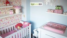 Floral wallpaper changing table pink and light blue nursery Baby Boy Rooms, Baby Room, Light Blue Nursery, 21st Century Homes, Shops, Everything Baby, Home Decor Items, Future Baby, Baby Kids