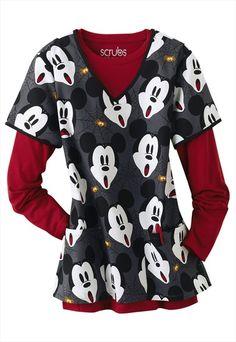 Cherokee Disney Mickey Scream print v-neck scrub top.