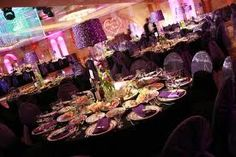 purple and coral wedding reception