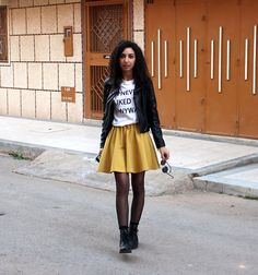 H&M Skirt, H&M Tank Top, New Yorker  Jacket, H&M Boots, Hema Sunglasses
