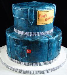 Denim and diamonds themed birthday cake | Cakes | Pinterest | Birthday cakes Diamond and Cake