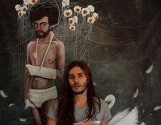 """Exposição """"À Espera"""", do catarinense Nestor Jr, reúne vinte trabalhos entre aquarelas, desenhos e acrílicas, produzidos entre 2014 e 2015."""