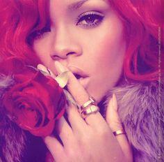 Rihanna Loud era- I love the red, fur and roses.