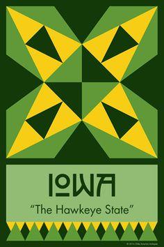 IOWA quilt block.  Ready to sew. Single 4x6 block $4.95.