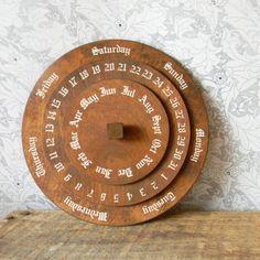 Round Perpetual Calendar - Vintage German Wooden Dial Calendar