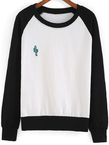Black White Round Neck Cactus Embroidered Sweatshirt