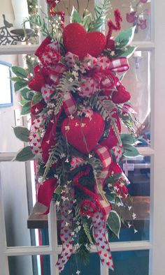 Valentines red heart door wreath tear drop swag by TheCozyNestSC, $59.99