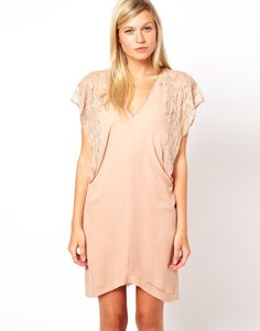 gorgeous nude/blush pink beaded drop-sleeve/batwing sleeve v-neck silk dress by french connection