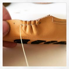 """Moccasin stitch photo_only Beaded Moccasins, Baby Moccasins, Leather Moccasins, Leather Shoes, Make Your Own Shoes, How To Make Shoes, Sewing Leather, Leather Craft, Shoe Crafts"