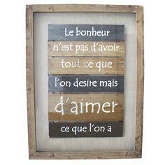 Tableau en bois avec citation, 31.5 x 2 x 24''
