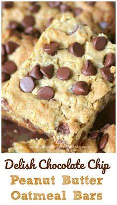 Oatmeal Cookie Bars, Peanut Butter Oatmeal Bars, Peanut Butter Desserts, Peanut Butter Chips, Oatmeal Dessert, Recipes With Peanut Butter, Oatmeal Bars Healthy, Peanut Butter Squares, Peanut Butter Muffins