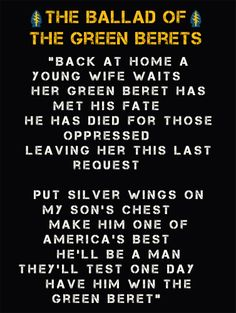 """US Military Army Special Forces """"The Ballad of the Green Berets"""" poster"""