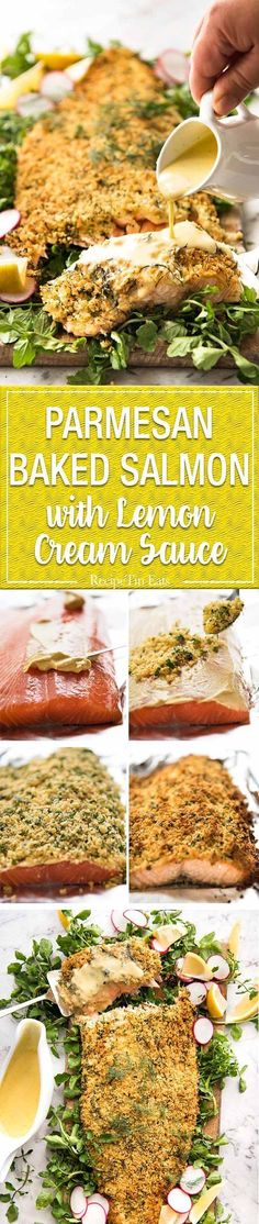 Baked Parmesan Crusted Salmon with Lemon Cream Sauce - easy and fast to make, can be prepared ahead, a stunning centrepiece for Christmas dinner and yet easy enough for midweek. That Lemon Cream sauce is the perfectly finishing tough. www.recipetineats...