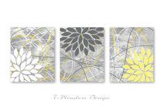"Floral Bursts Botanicals Dahlia Art Print Set with Distressed Background  (3) 11"" X 14"" // Yellow, Grey, White // Modern  Home Decor"