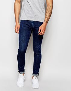 "Super skinny jeans by Blend Stretch denim Mid-wash Concealed zip fly Five pocket styling Super skinny fit - cut closest to the body Machine wash 98% Cotton, 2% Elastane Our model wears a 32""/81cm regular and is 188cm/6'2"" tall"