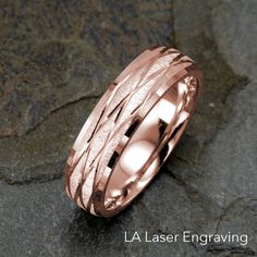 Mens Wedding Band, 14k Gold Wedding Ring, Solid Gold Ring, Mens Ring, Rose Gold Band, Mens Band, 6mm Wedding Ring, Unique Ring, Mens Gift by LALaserEngraving on Etsy