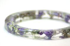 Real Flower Bracelet Purple Bracelet Resin by ModernFlowerChild