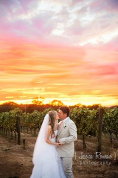 Beautiful wedding sunset at the vineyard just before the storm