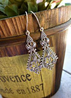 Silver Filigree Earrings. Everyday Wear. Sterling Silver jewelry. Long, victorian.