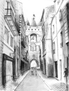 La Grosse clôche - Bordeaux. Black ink drawing. By Nicolas Jolly.