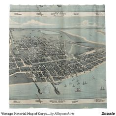 Vintage Pictorial Map of Corpus Christi TX (1887) Shower Curtain