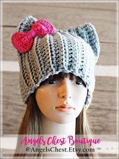 PDF Crochet Pattern Photo Tutorial  Pussyhat Cat Beanie Hat