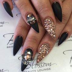 Matte Black Stiletto Acrylic Nails w/ Rhinestones