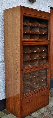 Vintage Oak Glass Fronted Haberdashery Cabinet