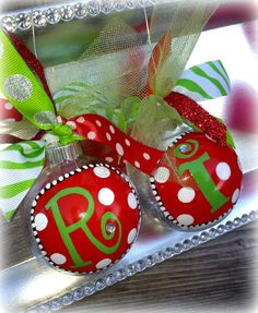 Adorable Glitter Monogram Ornaments - Red and Green