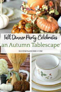 Fall Dinner Party Celebrates an Autumn Tablescape. Ideas for a fall table setting. How to use fall colors to set a traditional table for a dinner party.