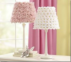 Flower lamp shade! Use any type of flower to create the perfect lampshade. Find a variety of flowers at www.boutiquesupplyco.com
