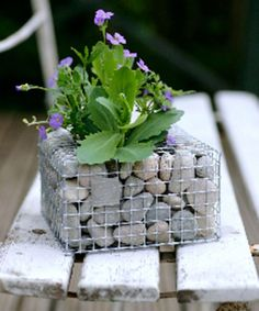 Not technically garden design, but really interesting Pebble Cube...wire mesh filled with stones...put in a flowering plant...