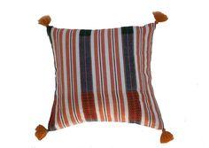 Handloomed Burmese cushion in traditional Naga design