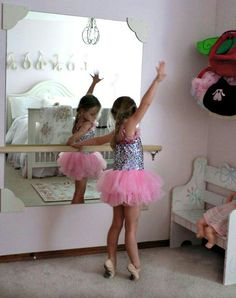Mirror and ballet bar for the bedroom. Cute idea!