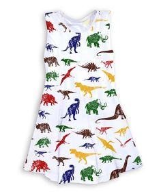 Take a look at this Urban Smalls White & Blue Dinosaur Sleeveless Dress - Toddler & Girls today!