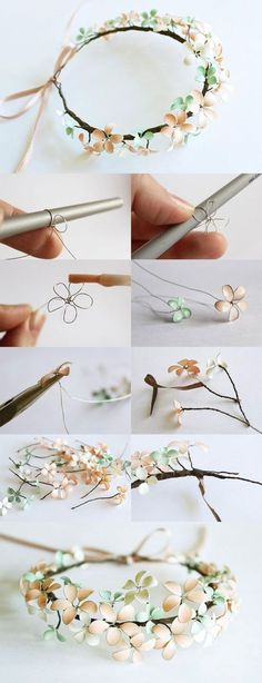 DIY : Nail Polish & Wire Flowered Headpiece (covering the wire w/ mod podge makes it easier to apply the polish):